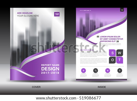 Annual report brochure flyer template, Purple cover design, business layout, advertisement, book, leaflet, catalog