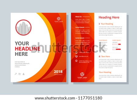 fe28de9bec4e03 Annual report, business broshure, flyer, magazine abstract background, red  cover, size