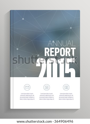 Annual Report 2015 cover, blurred background cover layout for books, brochures, flyers with bleed and crop marks