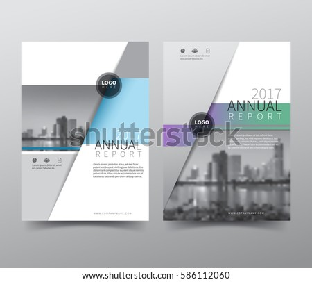 Annual report cover, flyer, presentation, brochure. Front page, book cover layout design. Design layout template in A4 size . Abstract blue green purple color with building background.