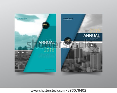 Annual report cover, flyer, presentation, brochure. Front page with A4 mask and  bleed guide. Design layout template in A4 size . Building background with green blue color templates.