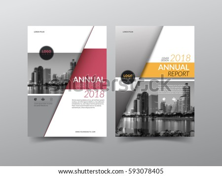 Annual report cover, flyer, presentation, brochure. Front page with A4 mask and  bleed guide. Design layout template in A4 size . Building background with red yellow color templates.