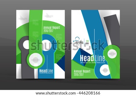 Annual report cover. Geometric abstract background. Brochure, flyer template layout, vector leaflet #446208166