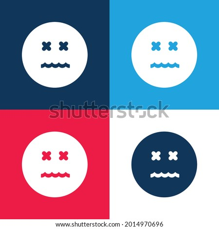 Annulled Emoticon Square Face blue and red four color minimal icon set Photo stock ©
