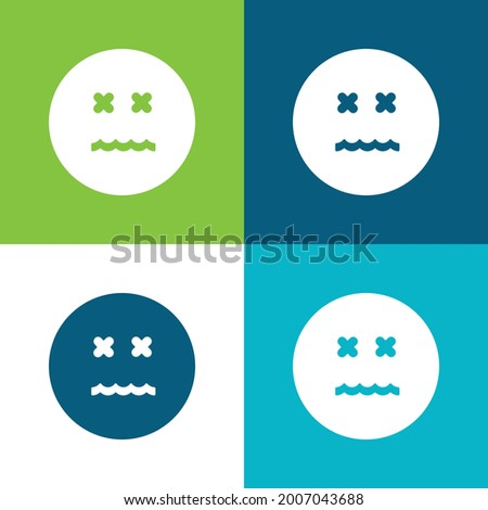 Annulled Emoticon Square Face Flat four color minimal icon set Photo stock ©
