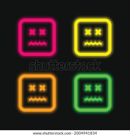 Annulled Emoticon Square Face four color glowing neon vector icon Photo stock ©
