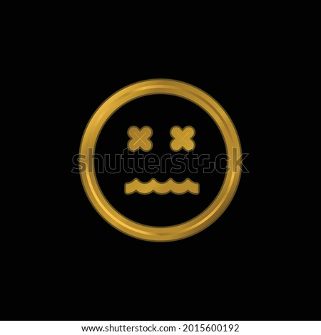 Annulled Emoticon Square Face gold plated metalic icon or logo vector Photo stock ©