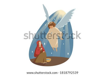 Annunciation, religion, bible, christianity concept. Catholic orthodox holiday illustration. Angel biblical religious character archangel Gabriel appearing to virgin Mary and carrying Gospel from God.