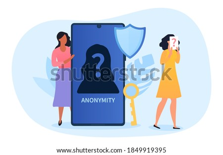 Anonymity abstract concept, female character hiding behind huge smartphone with anonymous unrecognizable profile, person with pack with question mark on head. Flat cartoon vector illustration Сток-фото ©