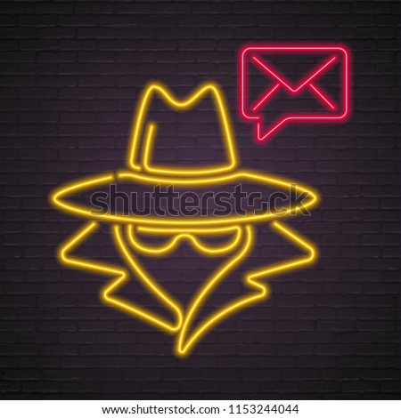 anonymous and email icon neon