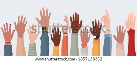 Anonymous arms and raised hands of multiethnic multicultural people. Crowd diversity people. Participation or election concept. Man and women of diverse races. Communication. Racial equality Stock photo ©