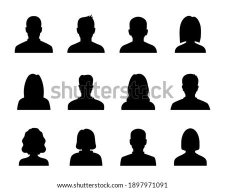 Anonymous black avatars collection. Set of male and female silhouettes. User profile icon