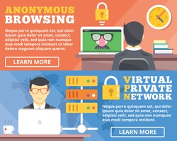Anonymous browsing, virtual private network, vpn flat illustration concepts set. Flat design concepts for web banners, web sites, printed materials, infographics. Creative vector illustration