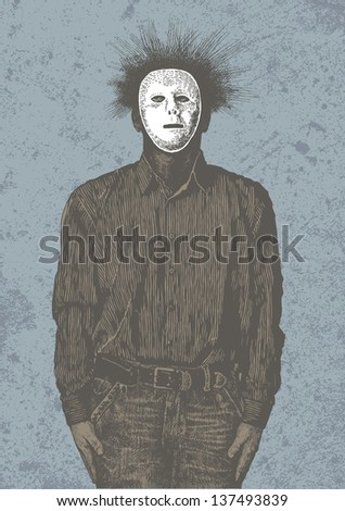 Anonymous man in mask. vector illustration