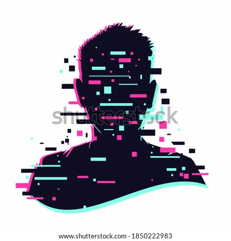 Anonymous vector icon. Incognito sign. Privacy concept. Human head with glitch face. Personal data security illustration. Gamer profile avatar.