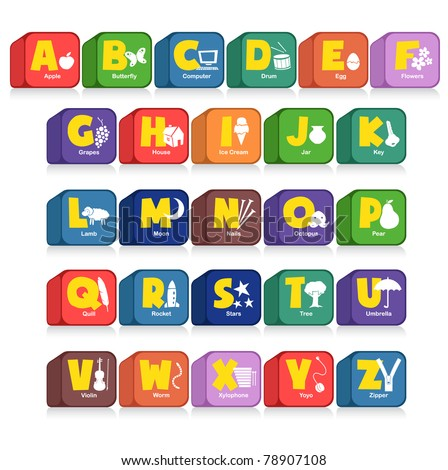 Another cube of 26 alphabet along with the initial objects. Suitable for children poster or toys