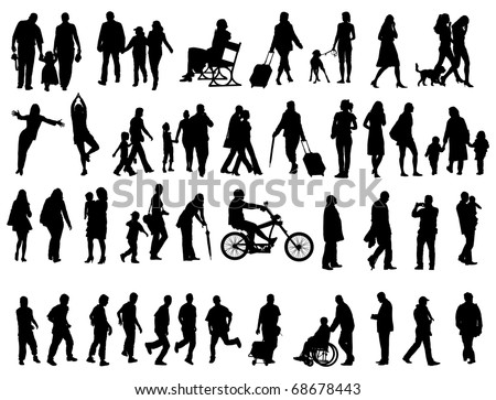 Another over fifty people black silhouettes on white background. Vector illustration. Walking families, friends, dancers,children and guys.