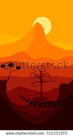 another planet sunset landscape