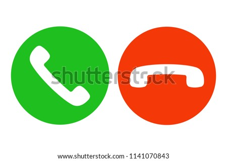 Answer and decline phone call buttons. Green and red. Vector.
