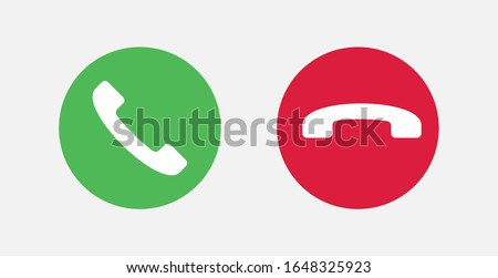 Answer and decline phone call buttons. Vector illustration icon.  Phone call. Telephone sign. Accept call and decline phone icons. Сток-фото ©