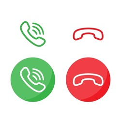 Answer and decline phone call buttons. Vector illustration in flat design