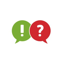 Answer and question. Red and green speech bubbles, question and exclamation signs