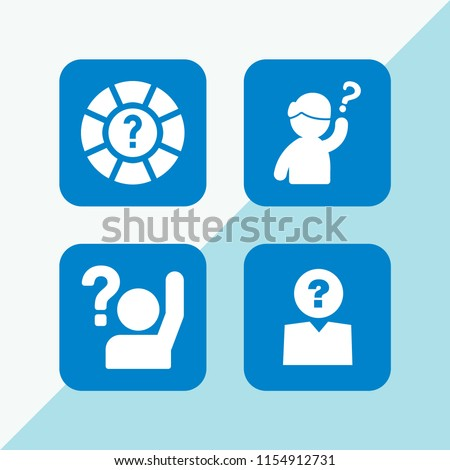 answer icon. 4 answer set with question and unknown vector icons for web and mobile app