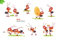 Ant cartoon character. Ants showing various emotions and actions. Cute cartoon characters of wildlife. Flat vector isolated design for mobile app, sticker, kids print, greeting card