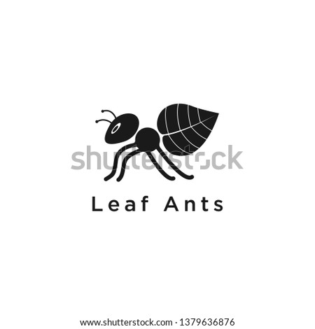 ant with green leaf logo icon