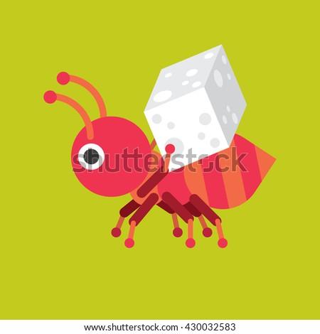 ant with sugar icon vector