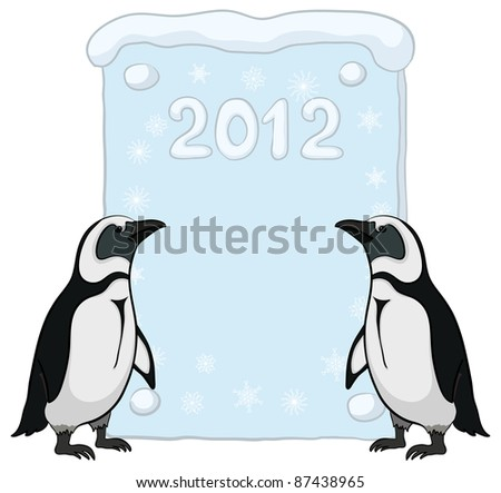 Antarctic penguins with a placard with the inscription 2012. Vector
