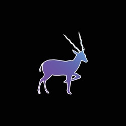 Antelope Silhouette From Side View blue gradient vector icon