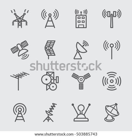 Antenna and Satellite line icon