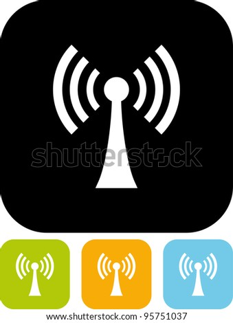Antenna broadcasting radio signal - Vector icon isolated
