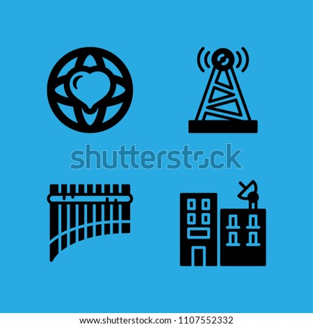 antenna, building, panpipe and world peace icons vector in sample icon set for web and graphic design