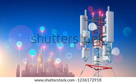 Antenna for wireless network. Telecommunication cellular station for smart city connections mobile equipment. Broadcasting tower for high speed internet communication. Tech background