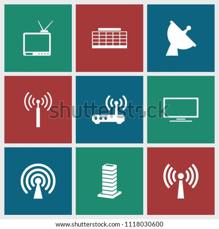 Antenna icon. collection of 9 antenna filled icons such as signal tower, satellite, router, signal, business center building. editable antenna icons for web and mobile.
