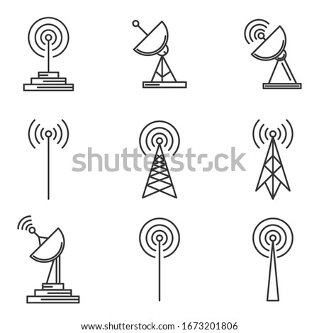 Antenna icons set. Linear antenna icons isolated. Set of Wireless tower icons. Vector illustration. Stock photo ©