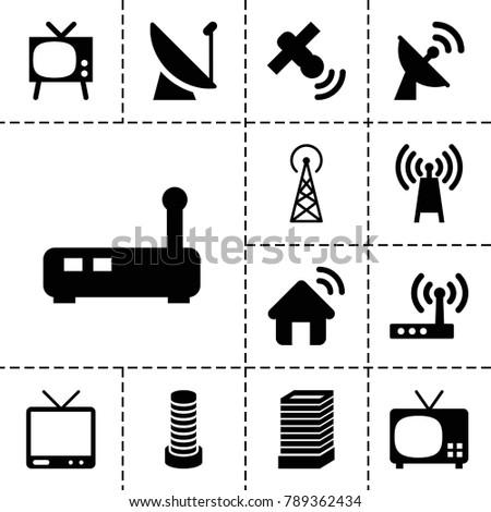 antenna icons set of 13