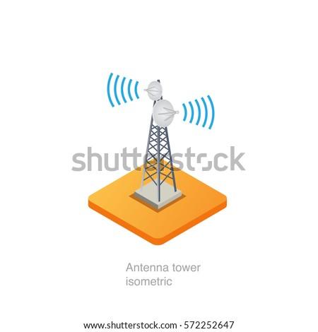 antenna tower isometric  vector