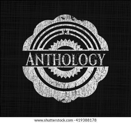 Anthology chalkboard emblem on black board