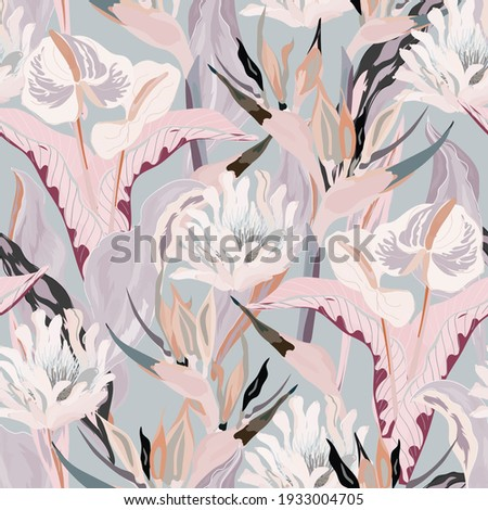 Anthurium and strelitzia seamless vector pattern. White, pink, beige flowers and leaves on light grey color background. Square design for fabric, wallpaper, scrapbook, wrap, invitation cards.