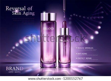 Anti aging cosmetic ads with glowing helix structure behind the bottles in 3d illustration