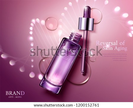 Anti aging cosmetic ads with glowing helix structure behind the bottles in 3d illustration, flat lay perspective