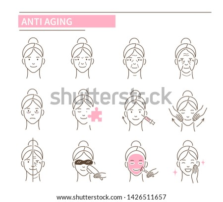 Anti aging icons. Line style vector illustration isolated on white background.