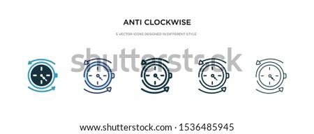 anti clockwise icon in different style vector illustration. two colored and black anti clockwise vector icons designed in filled, outline, line and stroke style can be used for web, mobile, ui