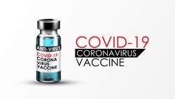 Anti Coronavirus disease COVID-19 infection medical vaccine with typography and copy space. New official name for Coronavirus disease named COVID-19, pandemic risk background vector illustration