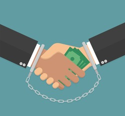 Anti corruption concept. Handshake with money and handcuffs on hands. Flat design