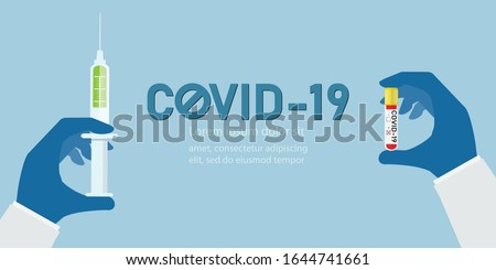 Anti COVID-19 vaccine concept.Hand holding test tube with blood sample for COVID-19 test. Positive test result Coronavirus Covid-19 and Green liquid in syringe is antidote, vector illustration.