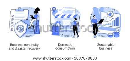 Anti-crisis strategy abstract concept vector illustration set. Business continuity, disaster recovery, domestic consumption, sustainable business, economics, risk management abstract metaphor.